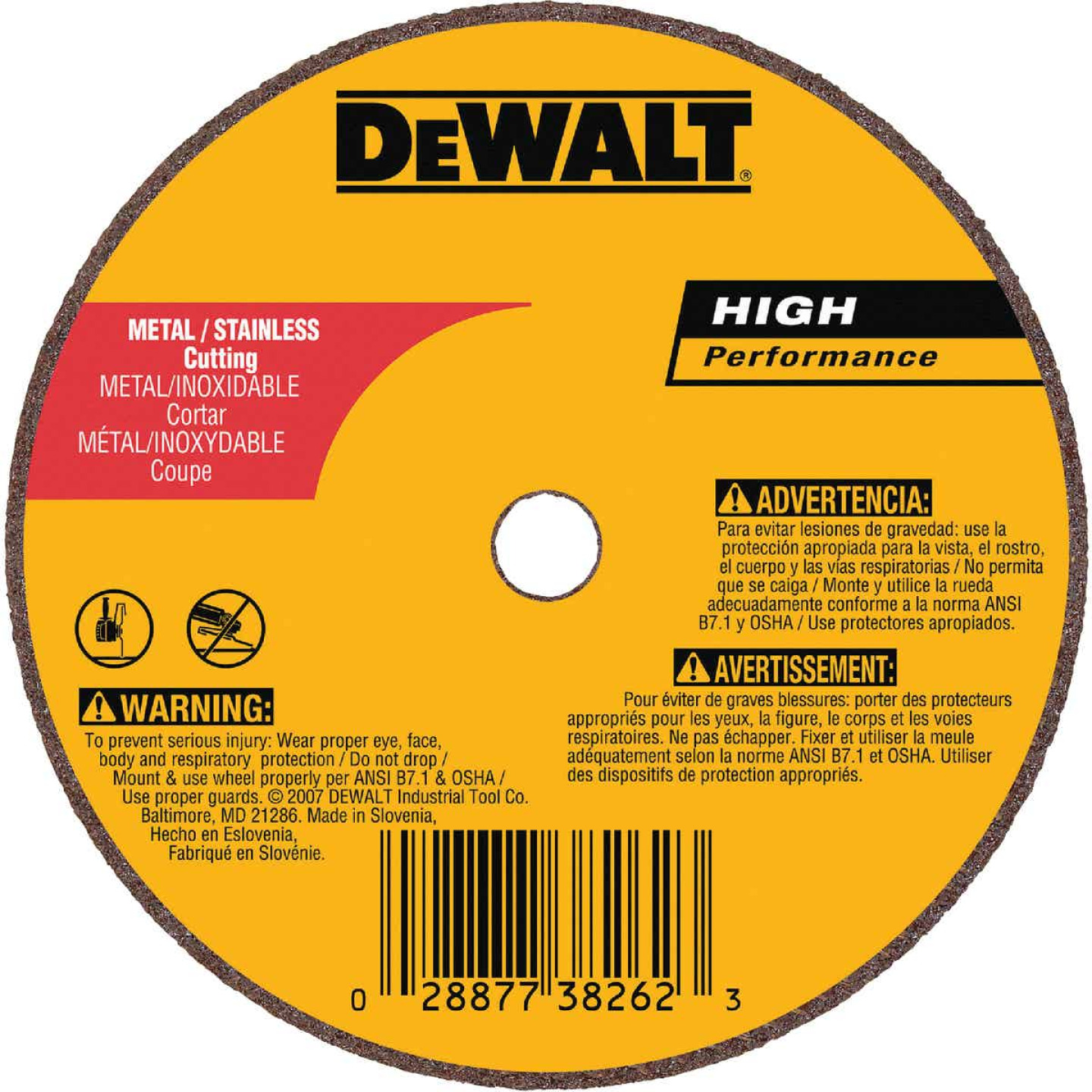 DeWalt HP Type 1 3 In. x 1/16 In. x 1/4 In. Metal/Stainless Cut-Off Wheel Image 1