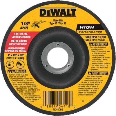 DeWalt HP Type 27 4 In. x 1/8 In. x 5/8 In. Metal Grinding Cut-Off Wheel