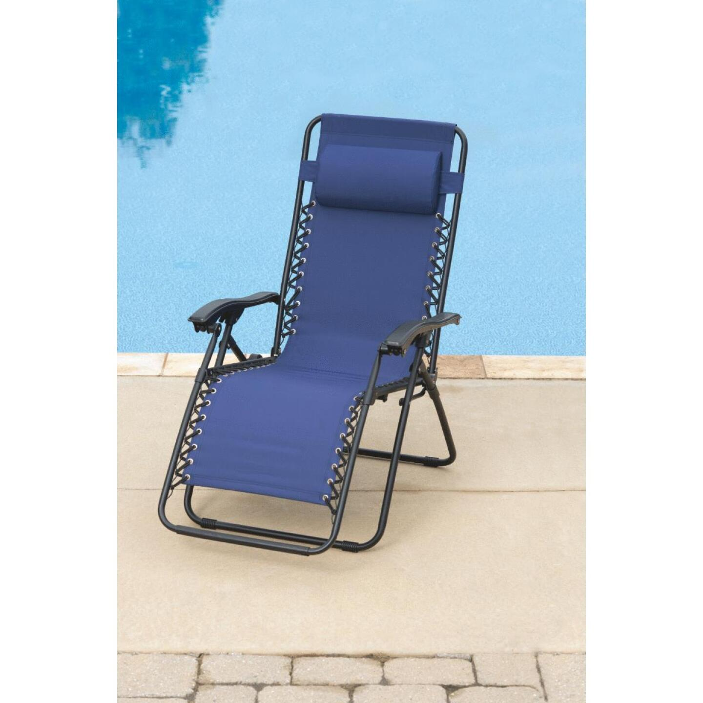 Outdoor Expressions Zero Gravity Relaxer Blue Convertible Lounge Chair Image 7